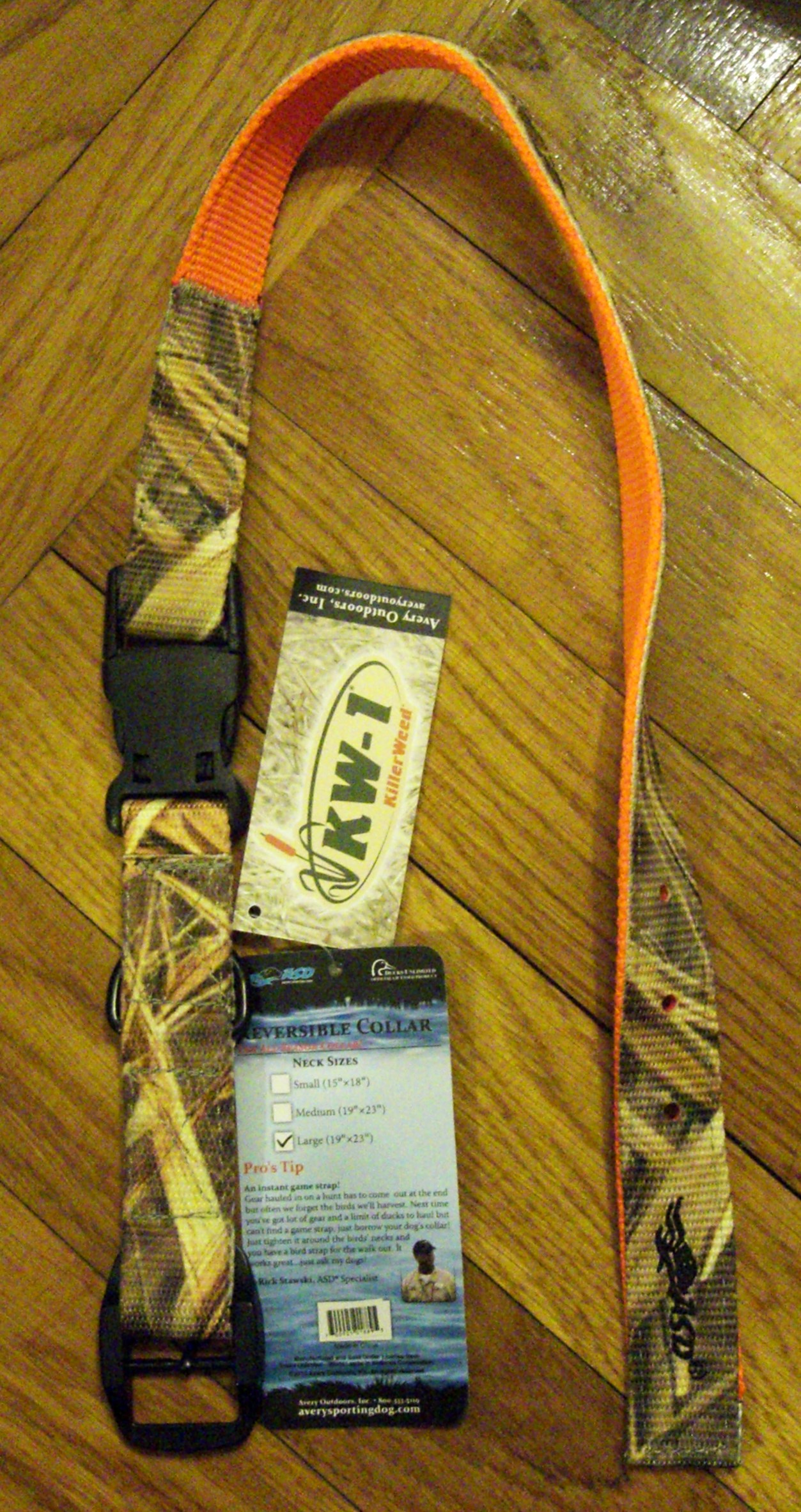 Ошейник AVERY GREENHEAD GEAR GHG REVERSIBLE DOG COLLAR KW-1 CAMO BLAZE ORANGE S 01869